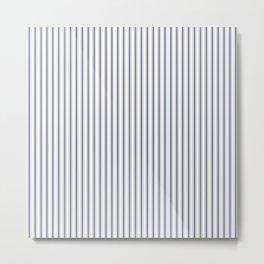 Dark Sargasso Blue Mattress Ticking Narrow Striped Pattern - Fall Fashion 2018 Metal Print