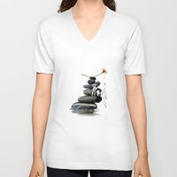 zen V-neck T-shirts featuring Zen by CokecinL