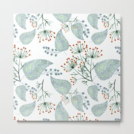 Delicate floral pattern on white. Metal Print