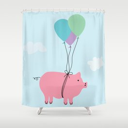 When Pigs Can Fly Shower Curtain