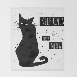 Hand drawn grange black cat Throw Blanket