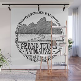 Grand Teton National Park Illustration Wall Mural