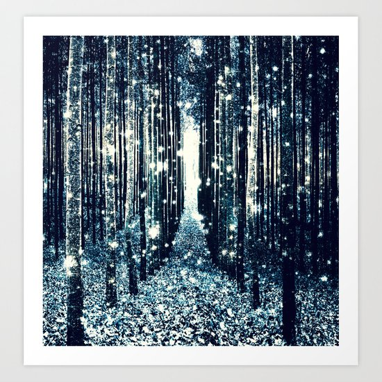 Magical Forest Teal Gray Elegance Art Print