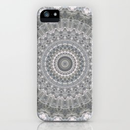 Mandala in white, grey and silver tones iPhone Case