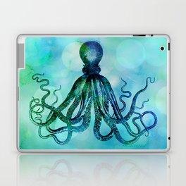 Octopus blue green mixed media underwater artwork Laptop & iPad Skin