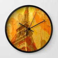 eiffel Wall Clocks featuring Eiffel by 3crows