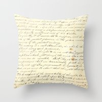 writing Throw Pillows featuring Vintage Writing by Paper Rescue Designs