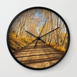 FALL ROAD PHOTO - COLORADO ROCKY MOUNTAIN IMAGE - AUTUMN LANDSCAPE PHOTOGRAPHY Wall Clock