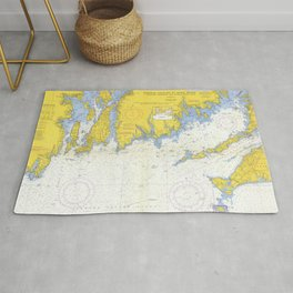 Vintage Buzzards Bay, Vineyard Sound and Coastal RI Map Rug