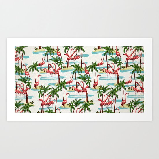 Trump Flamingo Pattern Art Print