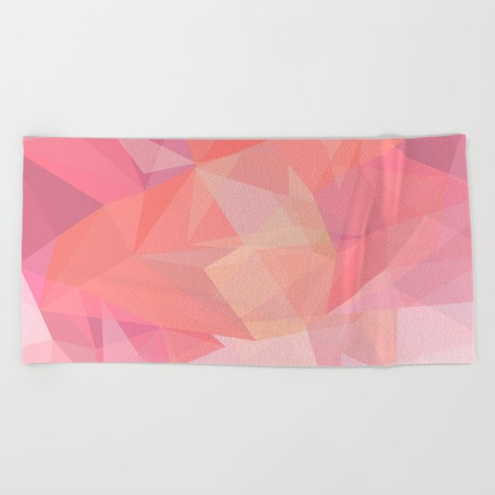 autumn color polygon background Beach Towel