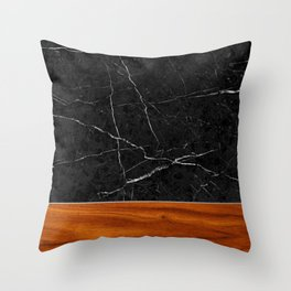 Marble and Wood Throw Pillow