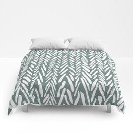 Herringbone pattern - moss green and white Comforters