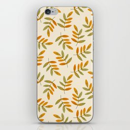 Autumn rustic green brown watercolor leaves pattern iPhone Skin