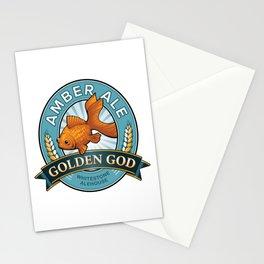 Golden God Amber Ale label Stationery Cards