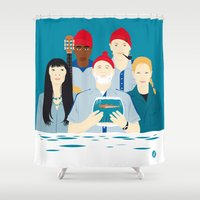 movies Shower Curtains featuring Steve's trophy (Faces & Movies) by Alain Bossuyt