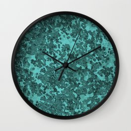 Turquoise Blue Hybrid Camo Pattern Wall Clock