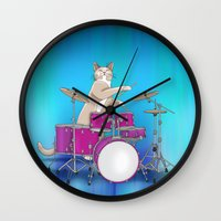 drums Wall Clocks featuring Cat Playing Drums - Blue by Ornaart