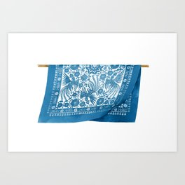 Watercolor Illustration of Chinese traditional blue cloth with design in white | 蓝印花布 Art Print