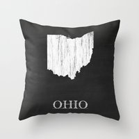 ohio state Throw Pillows featuring Ohio State Map Chalk Drawing by Finlay McNevin