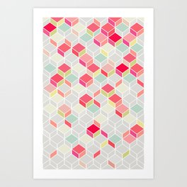 CUBE PINK Art Print