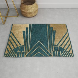 Art Deco glamour - teal and gold Rug