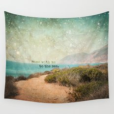 Come With Me to the Sea Wall Tapestry
