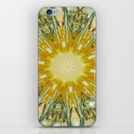 Green and Yellow with Sparkles Kaleidoscope Mandala Retro Abstract iPhone Skin