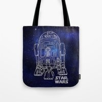 r2d2 Tote Bags featuring r 2 d 2 by Vickn
