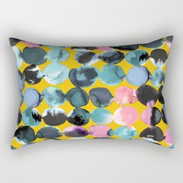 Yellow and blue ink dots Rectangular Pillow