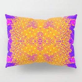 Yellow Raging Blue Flower Pillow Sham