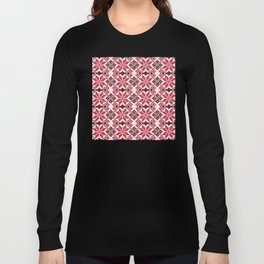 Romanian Traditional Embroidery - Red Long Sleeve T-shirt