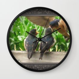 The Adult Barn Swallow Arrives with Lunch for One Wall Clock