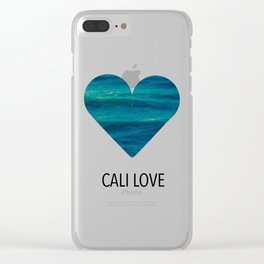 cali love, ocean heart Clear iPhone Case