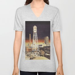 Watercolor painting of  water tower on the American Tobacco Campus in downtown Durham, NC at sunset Unisex V-Neck