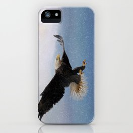 Snowy Flight - Bald Eagle iPhone Case