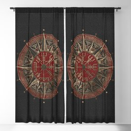 Vegvisir - Viking Compass - Black and red Leather and gold Blackout Curtain