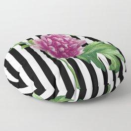 Pink Peony Black Stripes Chic Floor Pillow