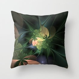 Fractal Floral Fantasy Throw Pillow