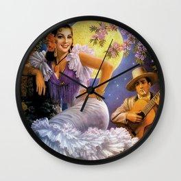 Love Under a Yellow Moon with Guitar & Flamenco Sevillana dress portrait painting Wall Clock