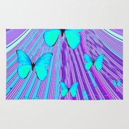 MIGRATING NEON BLUE BUTTERFLIES & PURPLE  ART Rug