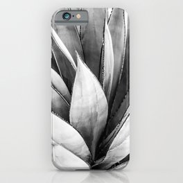 Cactus Leaves // Black and White Home Decor Vibes Desert Hombre Plant Photograph iPhone Case