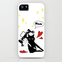 Black Cat with crossbow iPhone Case