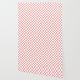 Large Lush Blush Pink and White Checkerboard Squares Wallpaper