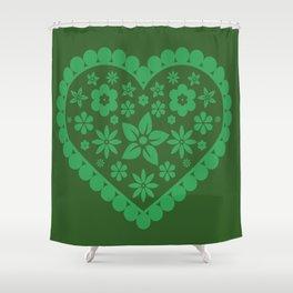 Green heart decor design Shower Curtain
