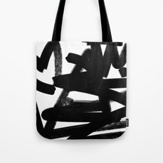 Thinking Out Loud - Black and white abstract painting, raw brush strokes Tote Bag