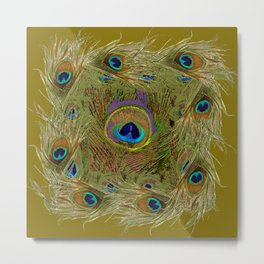 Avocado Color Peacock Feathers Art Design Metal Print