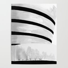 Architecture sketch of the Guggenheim Museum New York Poster