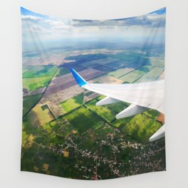 View through airplane porthole  Wall Tapestry