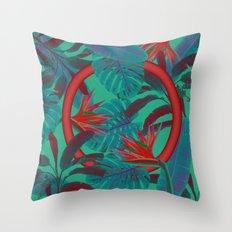 Blue Jungle Throw Pillow